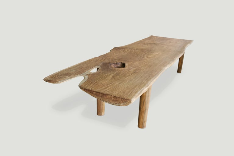 Andrianna Shamaris Live Edge Teak Wood Coffee Table or Bench In Excellent Condition For Sale In New York, NY