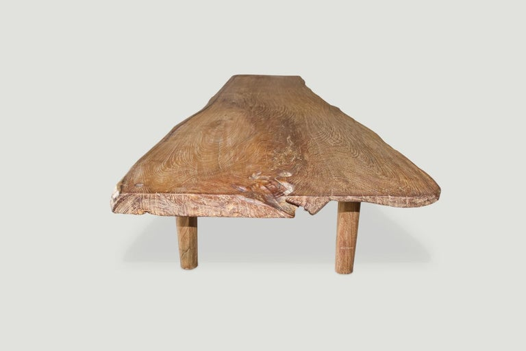 Contemporary Andrianna Shamaris Live Edge Teak Wood Coffee Table or Bench For Sale