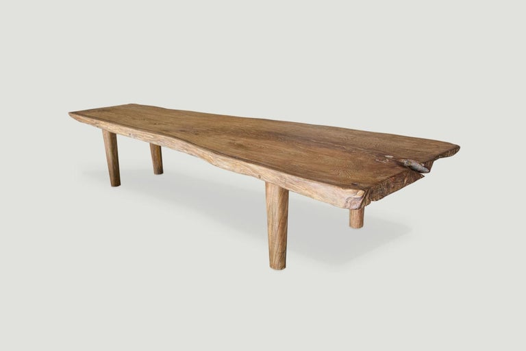 Andrianna Shamaris Live Edge Teak Wood Coffee Table or Bench For Sale 1