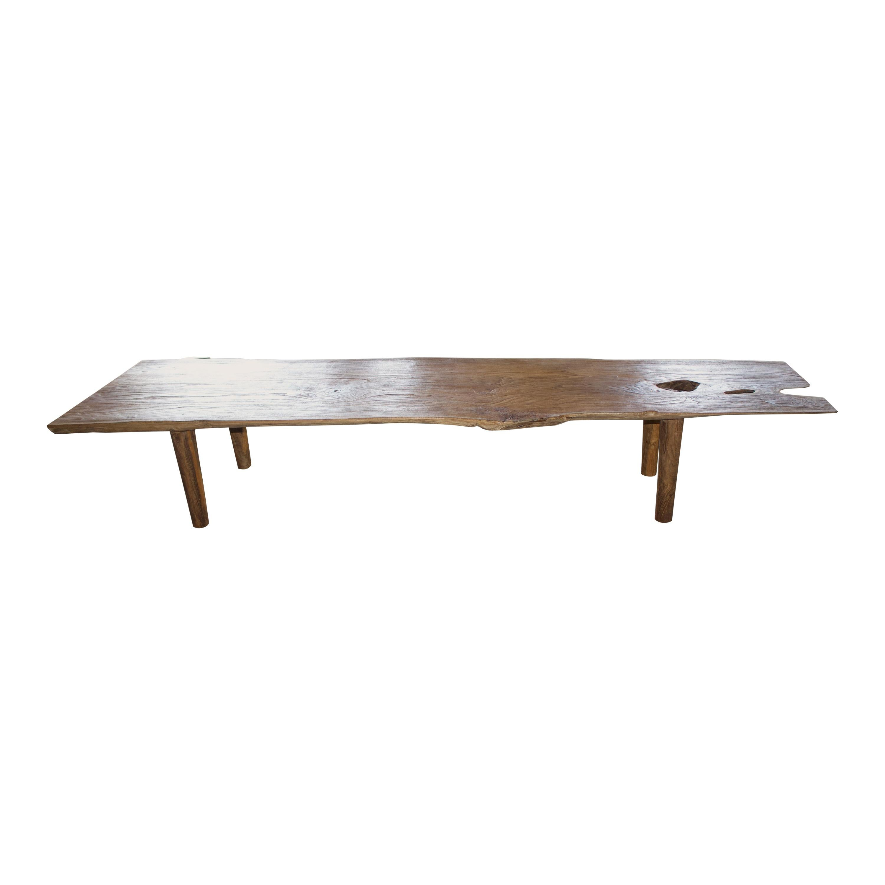 Andrianna Shamaris Live Edge Teak Wood Coffee Table or Bench