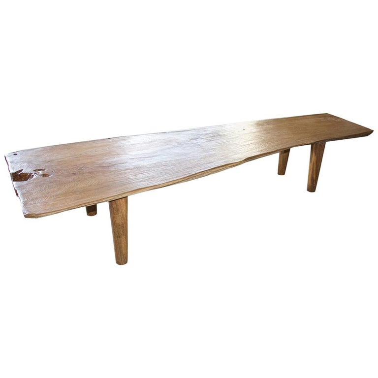 Andrianna Shamaris Live Edge Teak Wood Coffee Table or Bench For Sale