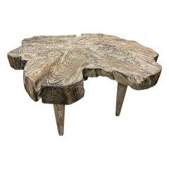 Andrianna Shamaris Live Edge Teak Wood Three Leg Cerused Side Table