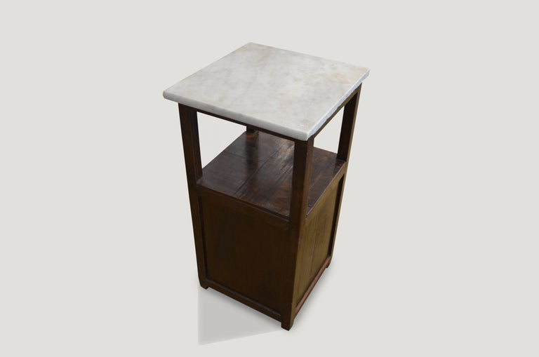 Organic Modern Andrianna Shamaris Marble Top Side Table For Sale