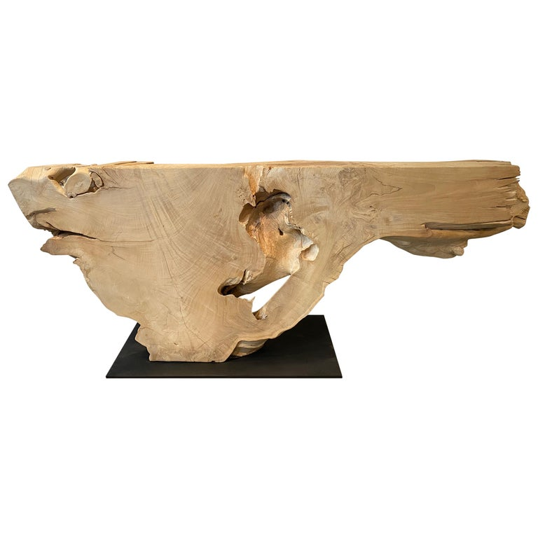 Andrianna Shamaris Massive Bleached Teak Wood Console Table For Sale