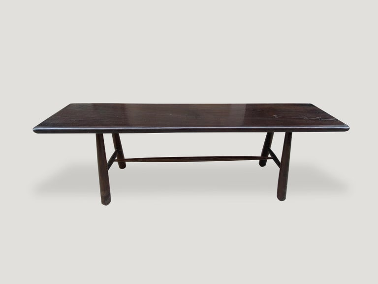 Andrianna Shamaris Midcentury Couture Espresso Stained Teak Wood Console Table In Excellent Condition For Sale In New York, NY