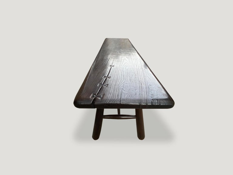 Andrianna Shamaris Midcentury Couture Espresso Stained Teak Wood Console Table For Sale 1