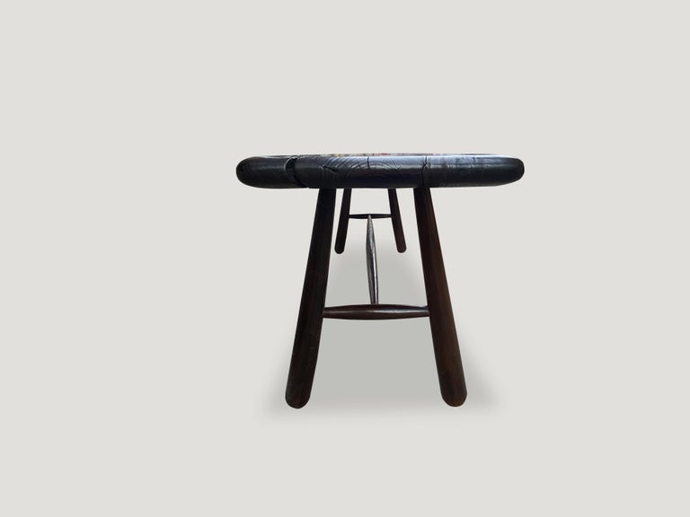 Andrianna Shamaris Midcentury Couture Espresso Stained Teak Wood Console Table For Sale 2