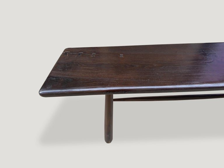 Andrianna Shamaris Midcentury Couture Espresso Stained Teak Wood Console Table For Sale 3