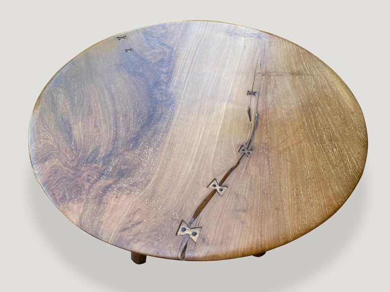 Mid-Century Modern Andrianna Shamaris Midcentury Couture Round Butterfly Teak Wood Inlay Table For Sale