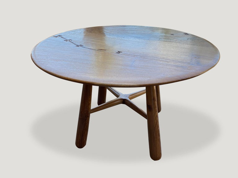 Andrianna Shamaris Midcentury Couture Round Butterfly Teak Wood Inlay Table In Excellent Condition For Sale In New York, NY