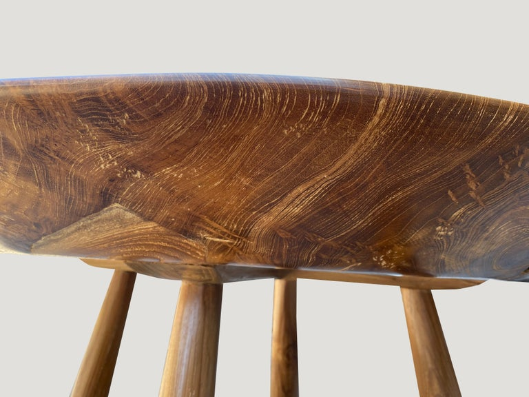 Contemporary Andrianna Shamaris Midcentury Couture Round Butterfly Teak Wood Inlay Table For Sale