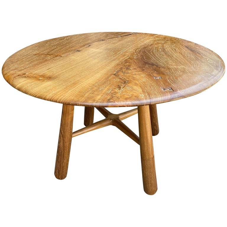 Andrianna Shamaris Midcentury Couture Round Butterfly Teak Wood Inlay Table For Sale