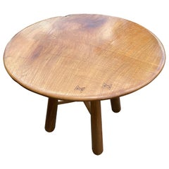 Andrianna Shamaris Midcentury Couture Round Teak Table with Butterflies Inlaid