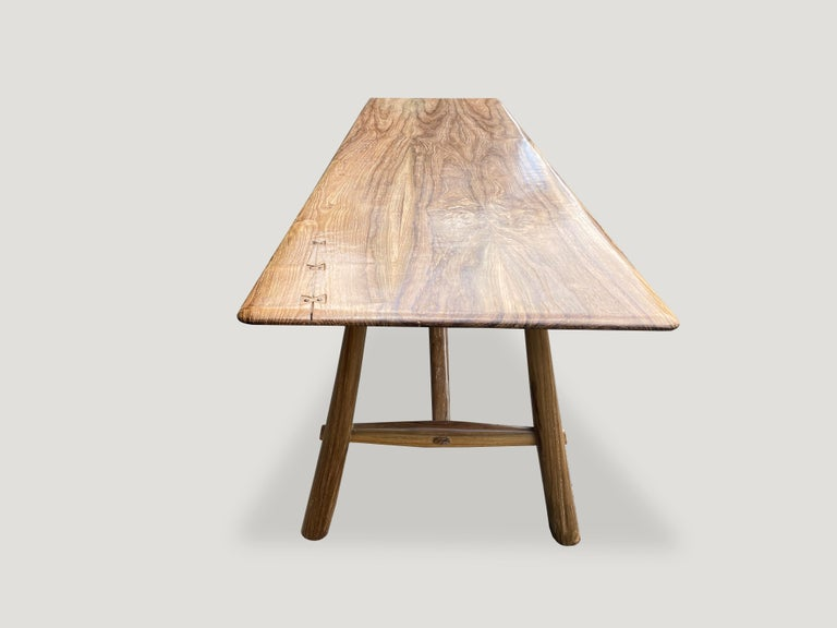 Mid-Century Modern Andrianna Shamaris Midcentury Couture Teak Wood Dining Table or Console For Sale