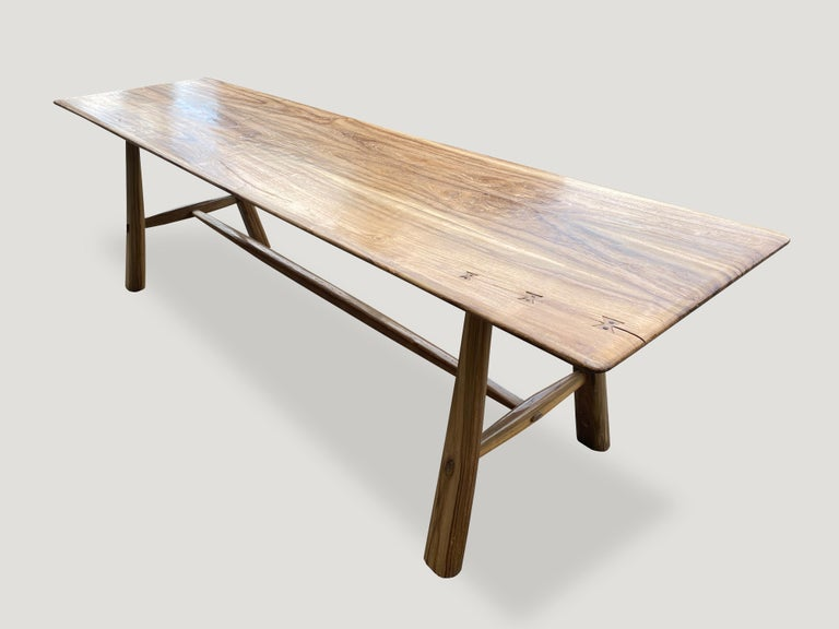 Andrianna Shamaris Midcentury Couture Teak Wood Dining Table or Console In Excellent Condition For Sale In New York, NY