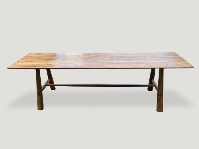 Contemporary Andrianna Shamaris Midcentury Couture Teak Wood Dining Table or Console For Sale