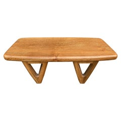 Andrianna Shamaris Mid Century Couture Triangle Base Teak Wood Coffee Table