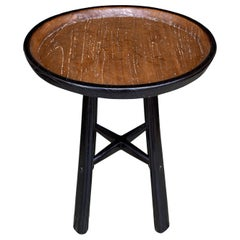 Andrianna Shamaris Midcentury Couture Antique Teak Wood Tray Side Table