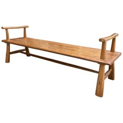 Andrianna Shamaris Midcentury Couture Teak Wood Bench with Arms