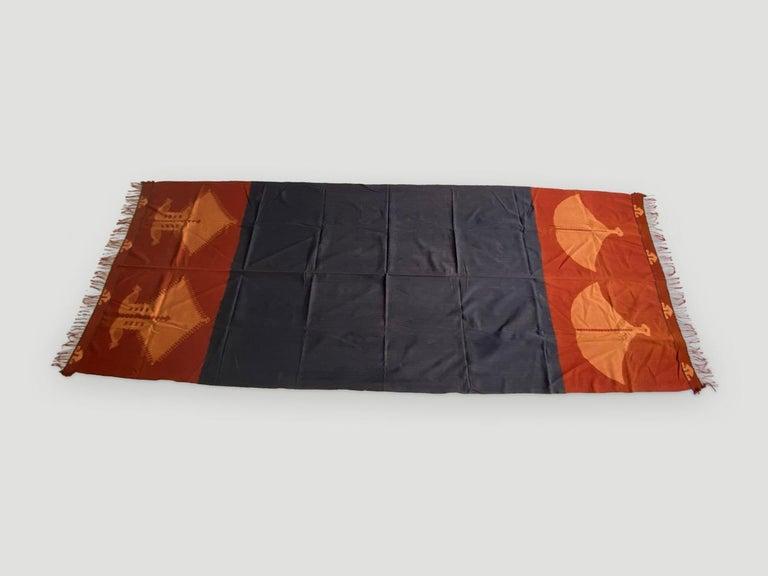 Indonesian Andrianna Shamaris Minimalist Antique Hand Woven Cotton Textile For Sale