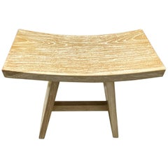 Andrianna Shamaris Minimalist Cerused Teak Wood Bench