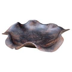 Andrianna Shamaris Minimalist Charred Teak Wood Sculptural Bowl