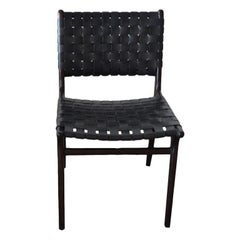 Andrianna Shamaris Modern Chair Series Double-Backed Leather Woven Chair