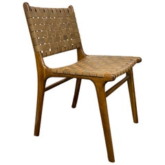 Andrianna Shamaris Modern Chair Series Single Backed Leather Woven Chair