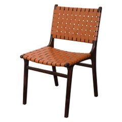 Andrianna Shamaris Modern Chair Series Single-Backed Leather Woven Chair