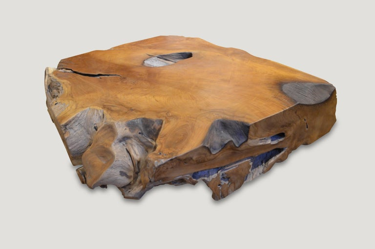Andrianna Shamaris Natural Teak Wood Coffee Table For Sale