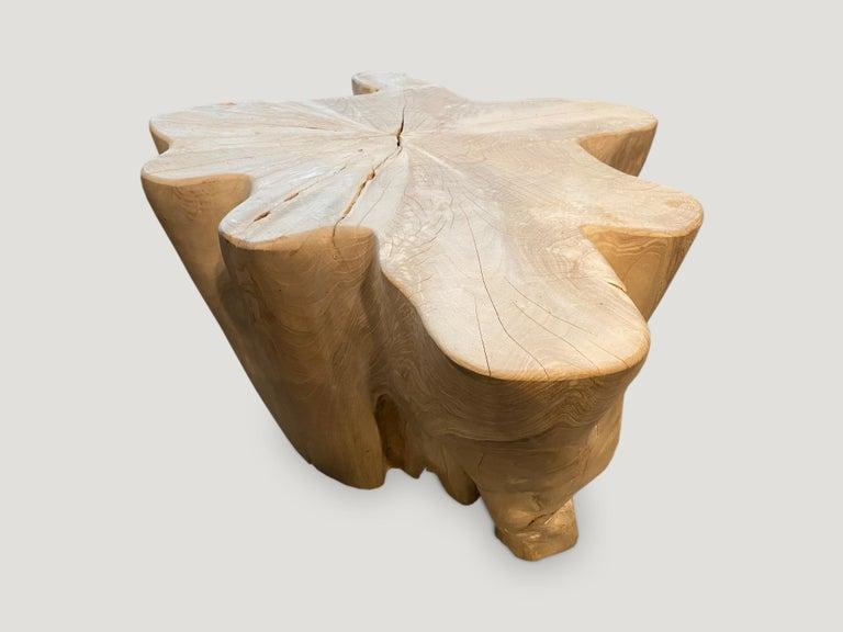 Organic Modern Andrianna Shamaris Organic Bleached Teak Wood Coffee Table For Sale