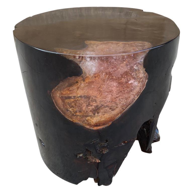Andrianna Shamaris Organic Cracked Resin and Teak Wood Side Table