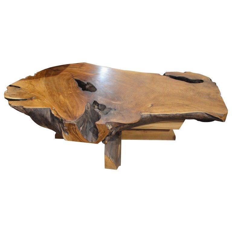Antique Single Teak Slab Top Coffee Table At 1stdibs: Andrianna Shamaris Organic Slab Teak Wood Coffee Table At