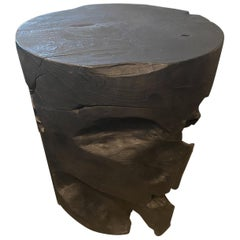 Andrianna Shamaris Organic Teak Wood Charred Side Table