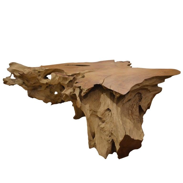 Andrianna Shamaris Organic Teak Wood Coffee Table For Sale