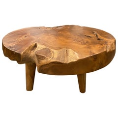 Andrianna Shamaris Organic Teak Wood Round Coffee Table with Midcentury Legs