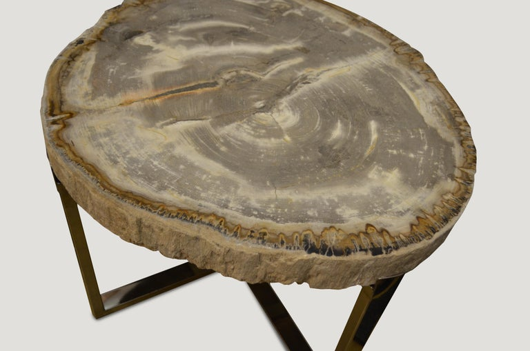 Rare, high quality petrified wood 3? slab top side table. Stunning grey and white tones with visible crystals. Set on a modern stainless steel base. Pair available. The price reflects one.  We source the highest quality petrified wood available.