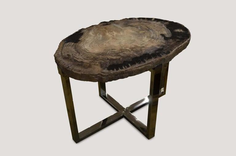 Organic Modern Andrianna Shamaris Petrified Wood Slab Side Table For Sale