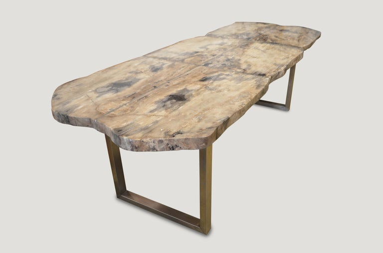 Organic Modern Andrianna Shamaris Petrified Wood Table For Sale