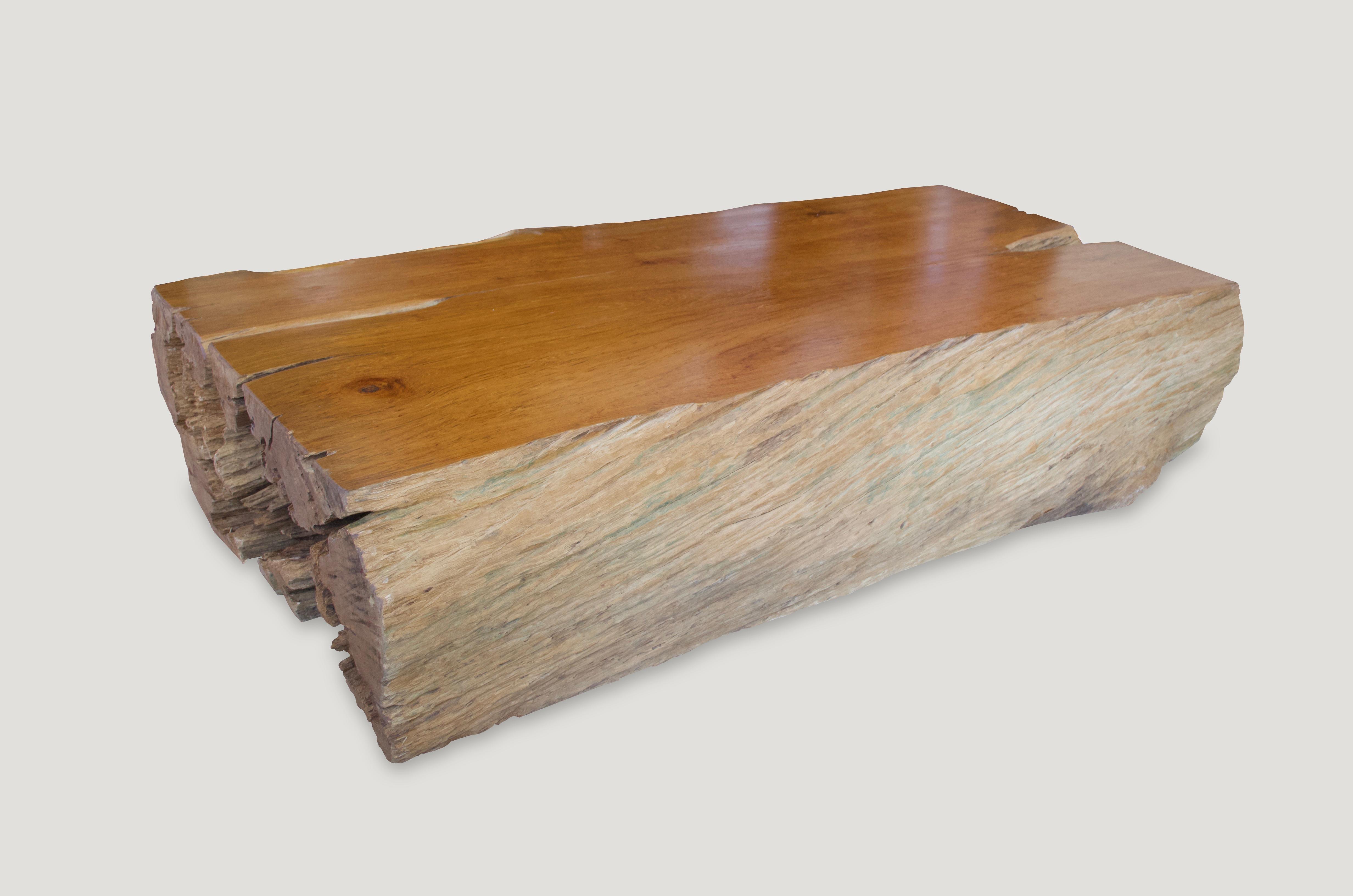 Andrianna Shamaris Polished Teak Wood Log Coffee Table