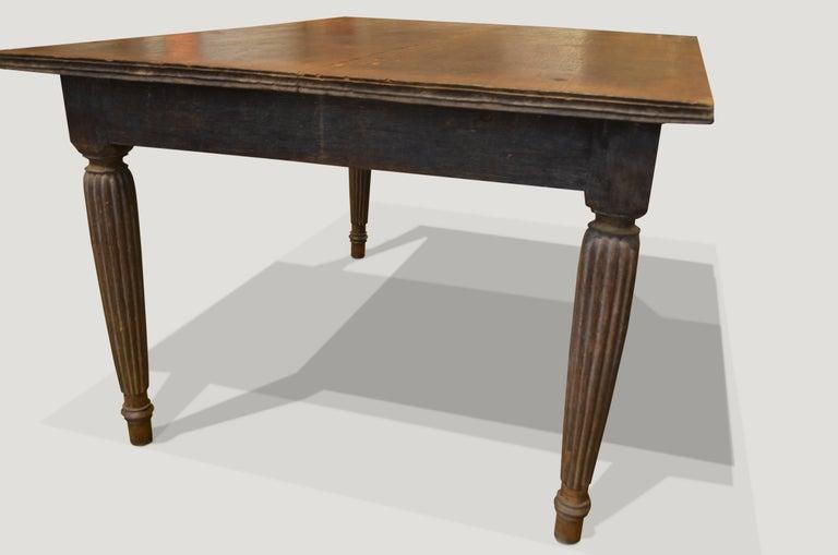 Primitive Andrianna Shamaris Raffles Influenced Teak Wood Dining Table For Sale