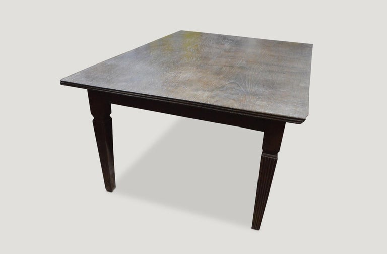 Andrianna Shamaris Raffles Teak Wood Dining Table In Excellent Condition For Sale In New York, NY