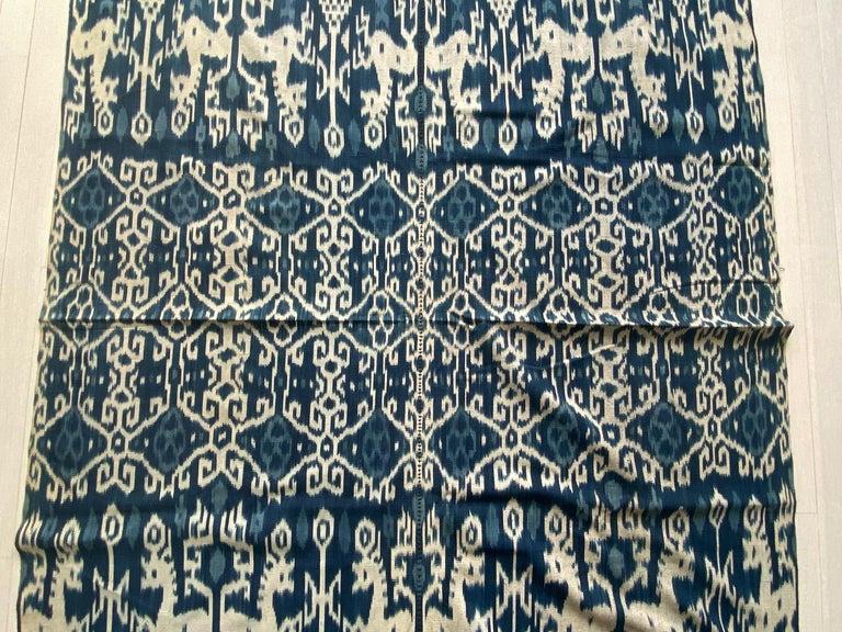 Tribal Andrianna Shamaris Rare Bold indigo Cotton Sumba Textile For Sale