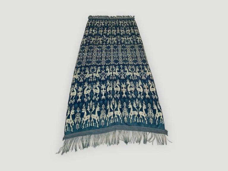 Hand-Woven Andrianna Shamaris Rare Bold indigo Cotton Sumba Textile For Sale
