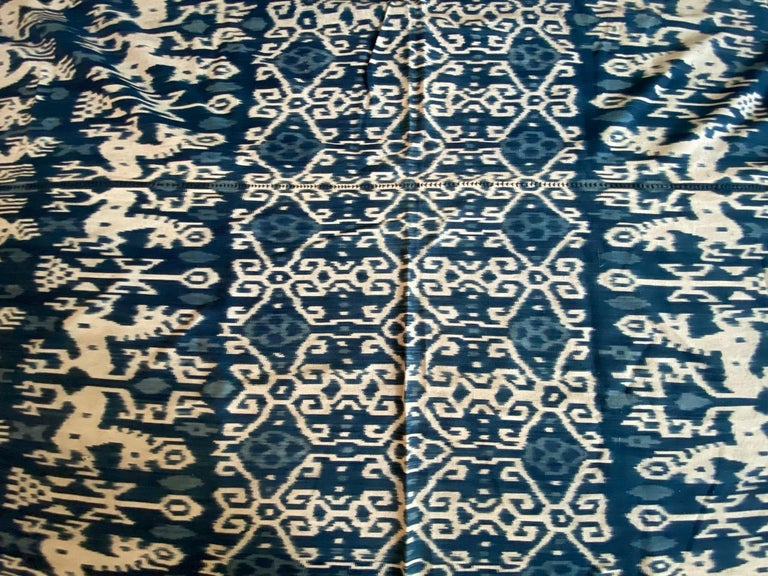 Andrianna Shamaris Rare Bold indigo Cotton Sumba Textile In Excellent Condition For Sale In New York, NY