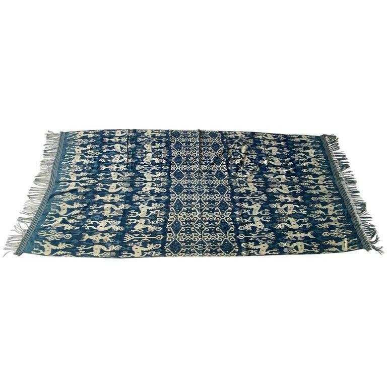 Andrianna Shamaris Rare Bold indigo Cotton Sumba Textile For Sale