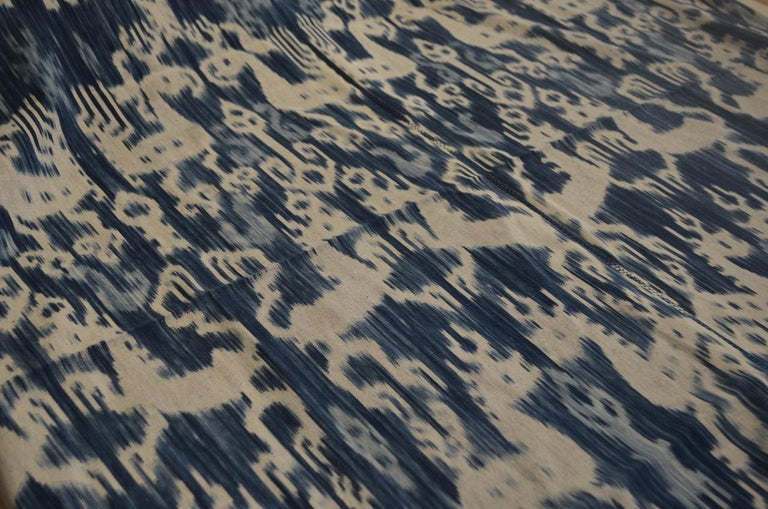 Andrianna Shamaris Rare Indigo Antique Textile with Leather In Excellent Condition For Sale In New York, NY