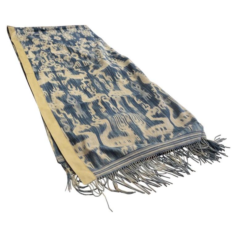 Andrianna Shamaris Rare Indigo Antique Textile with Leather For Sale