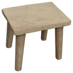 Andrianna Shamaris Reclaimed Bleached Teak Wood Stool or Side Table