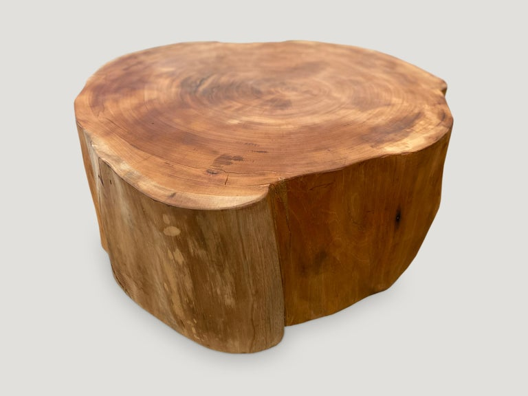 """Reclaimed mahogany wood coffee table 13"""" thick, floating 1"""" off the floor. Natural oil finish.  Andrianna Shamaris. The Leader In Modern Organic Design."""